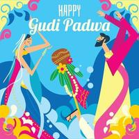Couple in Gudi Padwa Celebration vector