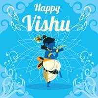 Krishna Dancing at Vishu Day vector