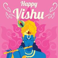 Vishu Day with Krisna playing flute vector