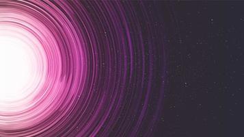 Agujero negro espiral rosa sobre fondo de galaxia vector