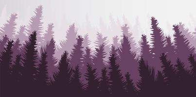 Vector Pine Forest, Foggy Landscape Design