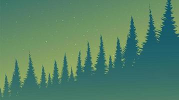 Green Foggy Pine Forest vector