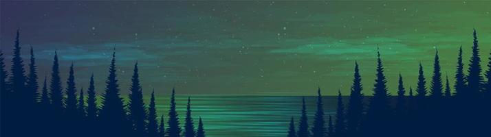 Panorama of river and pine forest at night vector