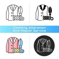 Custom suits and shirts black linear icon vector