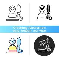 Hat repair and restoration black linear icon vector