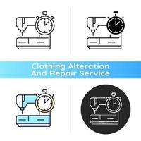Same day and emergency tailoring black linear icon vector