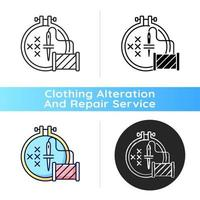 Embroidery black linear icon vector