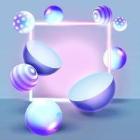 objetos abstractos con fondo de neón vector