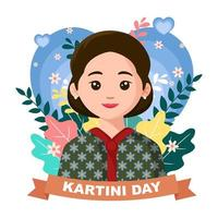 Kartini Day with Flowers Background vector