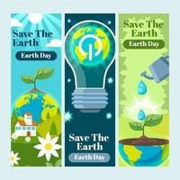 Set of Save The Earth Banners vector