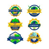 Earth Day Set of Labels vector