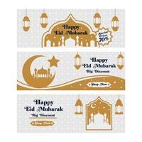 Set of Happy Eid Mubarak Marketing Banners vector