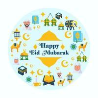 feliz eid mubarak conjunto de iconos vector