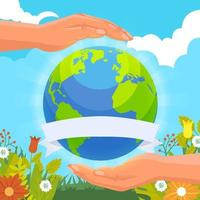Earth Day Background With Hand Care vector
