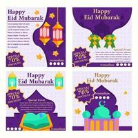 Happy Eid Mubarak Marketing Social Media Template vector