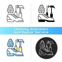 Shoe repair and reconditioning black linear icon vector