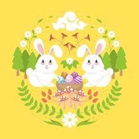diseño decorativo de conejo de pascua vector