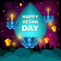 Happy Vesak Day with Purple Ornament