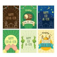 Eid Al Fitr Greeting Card Pack vector