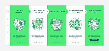 Dieting patterns onboarding vector template