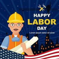 Happy Labor Day with Contractor vector