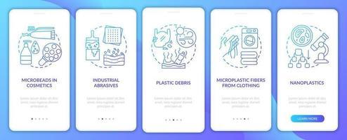 fuentes y tipos de microplásticos incorporando la pantalla de la página de la aplicación móvil con conceptos vector