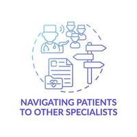 llevar a los pacientes a otros especialistas icono azul del concepto de degradado vector