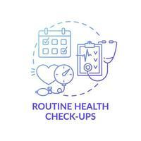 chequeos de salud de rutina azul degradado concepto icono vector