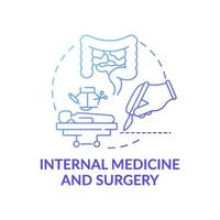 Medicina interna y cirugía icono azul degradado concepto vector