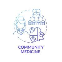 icono de concepto de gradiente azul de medicina comunitaria vector