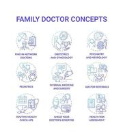 Family doctor blue gradient concept icons set vector