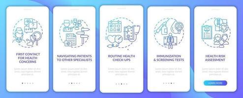 tareas de médico de familia Navy Onboarding pantalla de la página de la aplicación móvil con conceptos vector