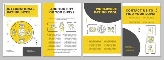 International dating sites brochure template vector