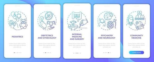Family medicine components navy onboarding mobile app page screen with concepts vector