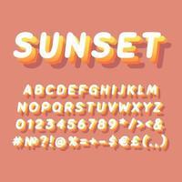 Sunset vintage 3d vector alphabet set