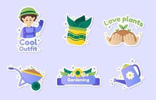 Gardening Sticker Set vector