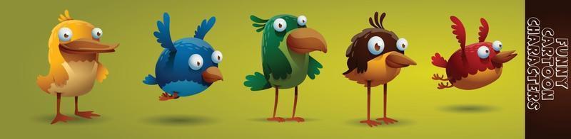cartoon bird character set vector