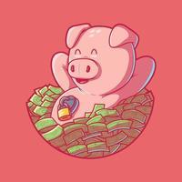 Piggy Bank vector illustration. Savings, money, finance design concept.