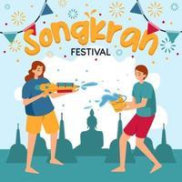 Men and women splash water on Songkran Festival vector