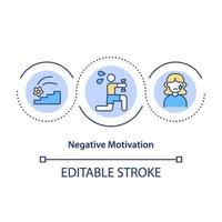 icono de concepto de motivación negativa vector