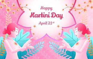 Kartini Day Floral, Foliage, and Batik Gradient Background vector