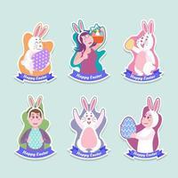 Easter Festivity Cute Characters Sticker Set Design vector