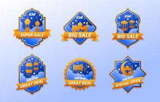 Eid Day Marketing Promotion Elegant Label Design Set vector