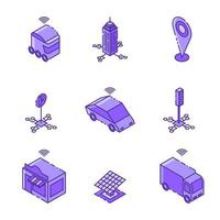 Smart City Isometric Linear Icon Set Design vector