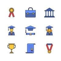 Education Graduation Color Linear Icon Set Design vector