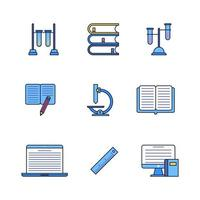 School Education Color Linear Icon Set Design vector