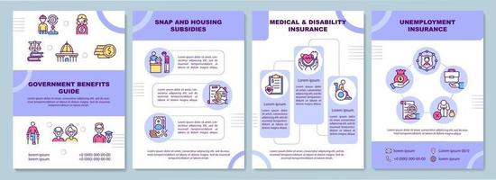 Government benefits guide brochure template vector