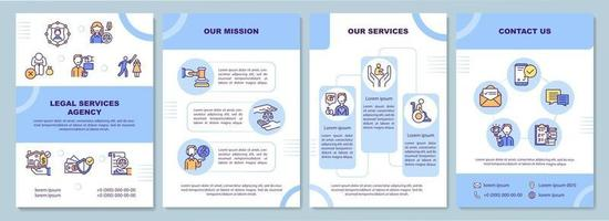 Legal services agency brochure template vector