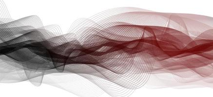 Onda de sonido negra y roja sobre fondo blanco. vector