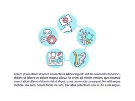 Stop microplastics concept line icons with text vector
